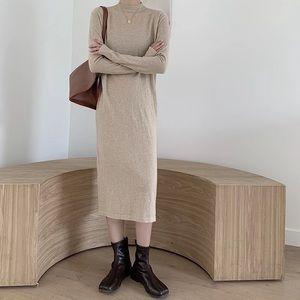 Mock neck turtleneck knit maxi midi sweater dress